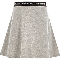 Girls grey RI waistband skater skirt