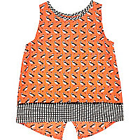 Mini girls orange puffin print split back top