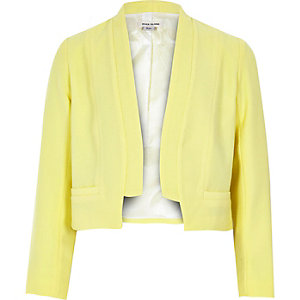 Girls yellow cropped blazer jacket