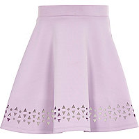 Girls purple laser cut full skirt