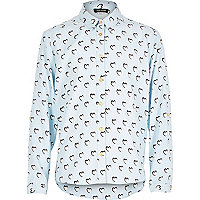 Girls pastel blue heart print shirt