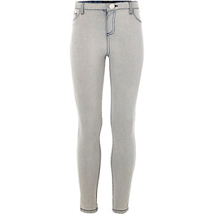 Girls grey acid wash leggings