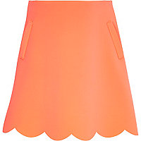 Girls pink jersey scalloped edge skirt
