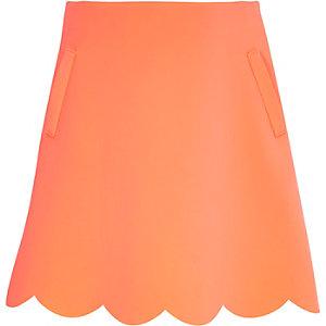 Girls pink jersey scalloped edge skirt