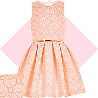 Girls coral jacquard prom dress
