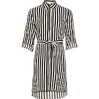 Girls black stripe shirt dress