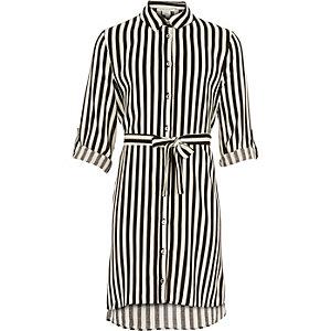 Girls black stripe shirt dress