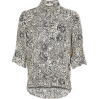Girls black printed shirt