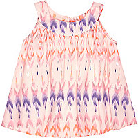 Mini girls pink Aztec print top