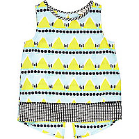 Mini girls beach hut print split back top