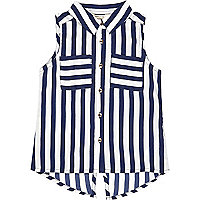 Mini girls stripe sleeveless shirt