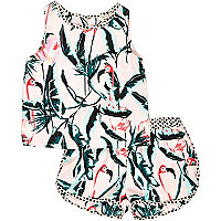 Mini girls pink flamingo print co-ords outfit