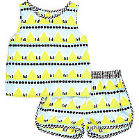 Mini girls print t-shirt and shorts outfit