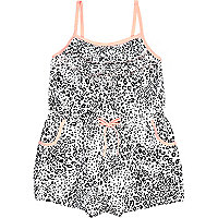 Mini girls black leopard print frill playsuit