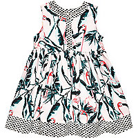 Mini girls pink flamingo print dress