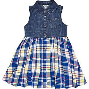 Mini girls blue denim check dress