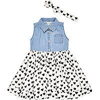 Mini girls heart print dress outfit