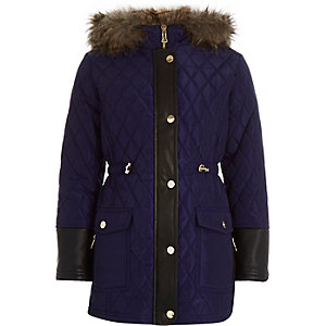 Girls navy quilted longline parka coat