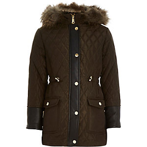 Girls khaki quilted longline parka coat