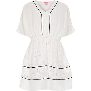 Girls white embroidered sun dress