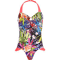 Girls pink tropical print bow back swimsuit