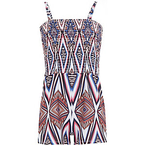 Girls white shirred top geo print playsuit