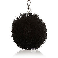 Girls black wool pom pom charm keyring