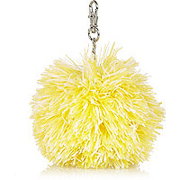 Girls yellow pom pom charm keyring