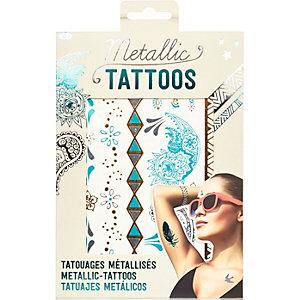 Girls metallic turquoise temporary tattoos