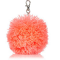 Girls coral wool pom pom charm keyring