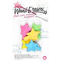 Girls pink star erasers
