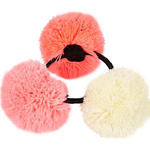 Girls pink pom pom hair tie