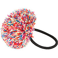 Girls multi wool pom pom hair tie