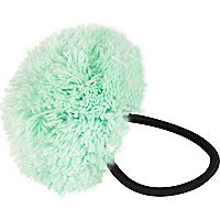 Girls green wool pom pom hair tie