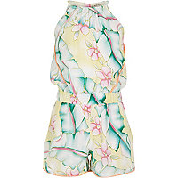 Girls yellow floral print playsuit