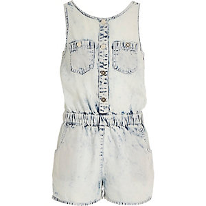 Girls acid wash denim playsuit