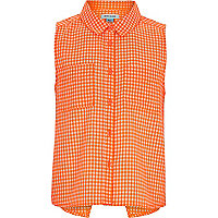 Girls orange gingham sleeveless shirt
