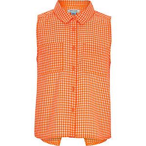 Girls orange gingham sleeveless shirt