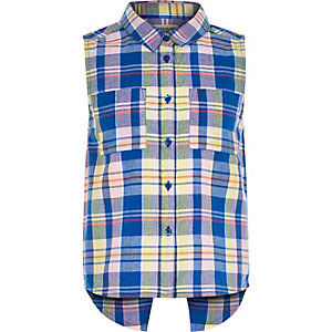 Girls blue check sleeveless shirt