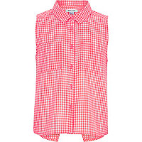 Girls pink gingham shirt