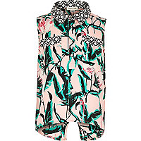 Girls pink tropical print shirt