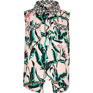 Girls pink tropical print shirt