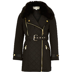 Girls black quilted belted jacket