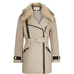 Girls cream quilted belted jacket