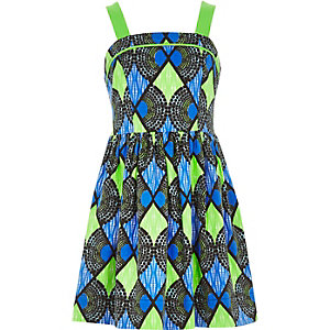 Girls blue geometric print prom dress