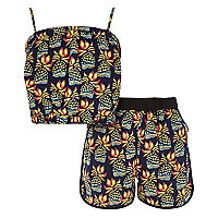 Girls blue pineapple print co-ords outfit