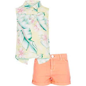 Girls coral floral print shirt shorts outfit