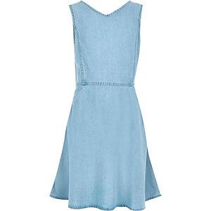Girls light blue denim circle dress