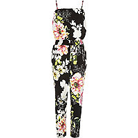Girls black floral print jumpsuit