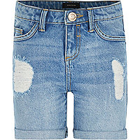Girls mid wash ripped denim shorts